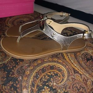 Michael Kors gold thong sandals